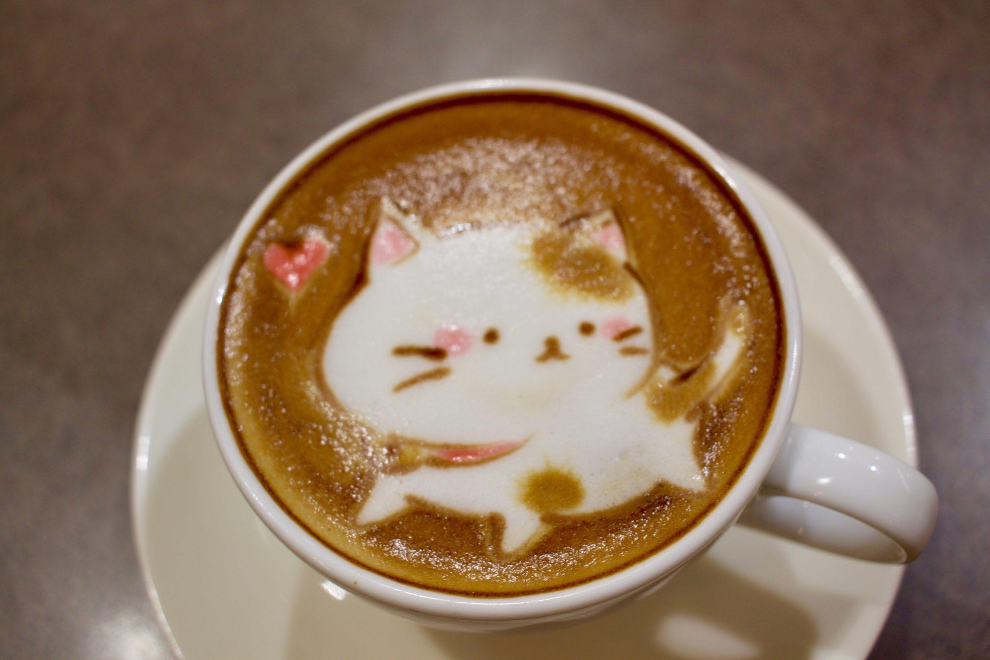 2Dラテアート猫